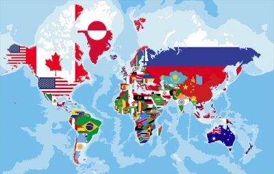 Carta da parati mappa del mondo politico con bandiere di paesi.