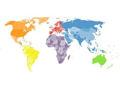 Carta da parati Mappa del mondo politico su sfondo bianco.