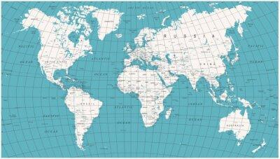 Carta da parati Mappa del Mondo Politico Vettore Vintage