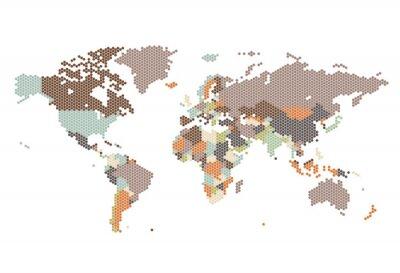 Carta da parati Mappa del mondo punteggiato di punti esagonali
