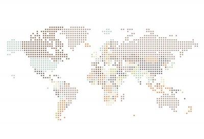 Carta da parati Mappa del mondo punteggiato di punti quadrati