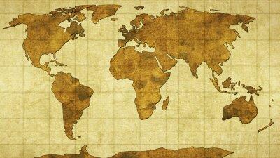Carta da parati Mappa del mondo sulla vecchia carta