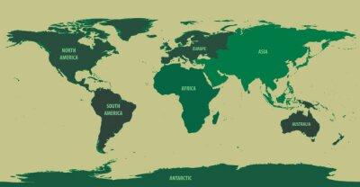 Carta da parati Mappa del mondo verde con il continente nomi