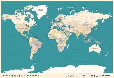 Carta da parati Mappa del mondo Vintage e marcatori - illustrazione