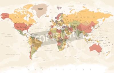 Carta da parati Mappa del mondo vintage - illustrazione vettoriale dettagliata
