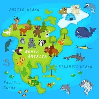 Carta da parati mappa del Nord America con gli animali - illustrazione vettoriale, eps