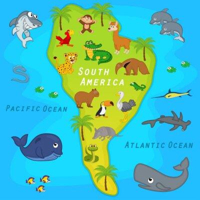 Carta da parati Mappa del Sud America con gli animali - illustrazione vettoriale, eps