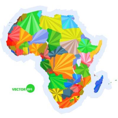 Carta da parati mappa dell'Africa. mappa concettuale con i paesi Colorful mappa Africa, astratto disegno Infografica, Africa mappa in origami poligonale disegno vettoriale illustrazione logo
