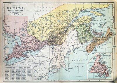 Carta da parati Mappa delle province orientali del Canada