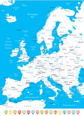 Carta da parati Mappa di Europa - altamente dettagliata illustrazione vettoriale.