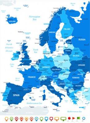 Carta da parati Mappa di Europa - altamente dettagliata illustrazione vettoriale. Immagine contiene orografia del terreno, di campagna e di terra nomi, nomi di città, nomi di oggetti acqua, icone di navigazione.