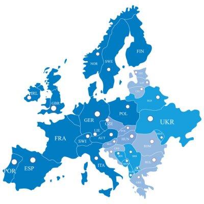 Carta da parati Mappa europea con le regioni su uno sfondo bianco
