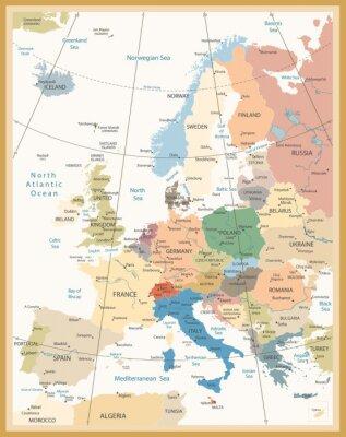 Carta da parati Mappa Politica d'Europa Retro Colori