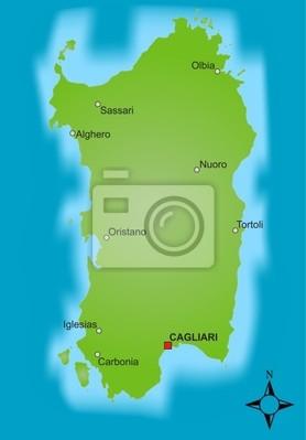 Cartina Sardegna Alghero.Mappa Sardegna Carta Da Parati Carte Da Parati Sardonico Alghero Sassari Myloview It