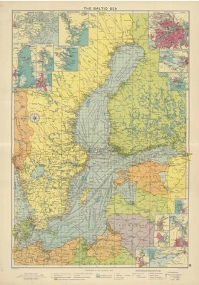 Carta da parati Mar Baltico vintage map
