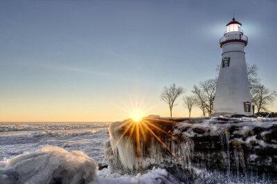 Carta da parati Marblehead Lighthouse Alba invernali