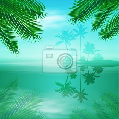 Mare Con Isola E Palme Sfondo Blu Tropicale Carta Da Parati