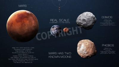 Carta da parati Mars - infografica ad alta risoluzione sul pianeta sistema solare e le sue lune. Tutti i pianeti disponibili.