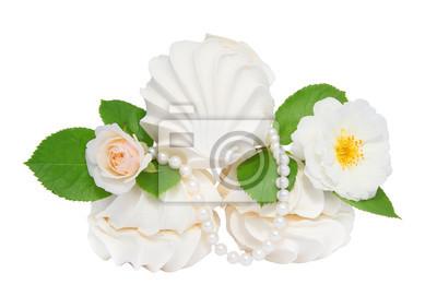 Carta Da Parati Rosa Bianca : Marshmallows apple e rose bianche. isolamento carta da parati
