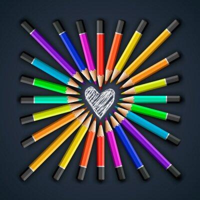 Carta da parati Matite colorate, a forma di cuore, vector eps10.