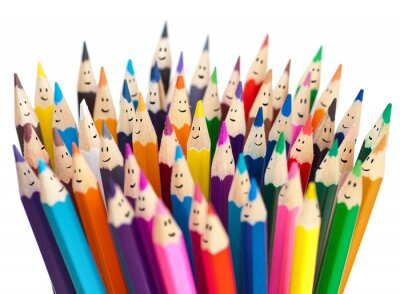 Carta da parati Matite colorate come i volti sorridenti di persone isolate. Social networ