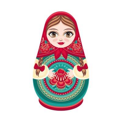 Carta da parati Matryoshka. popolare russa bambola di legno. babushka bambola. illustrazione vettoriale su sfondo bianco