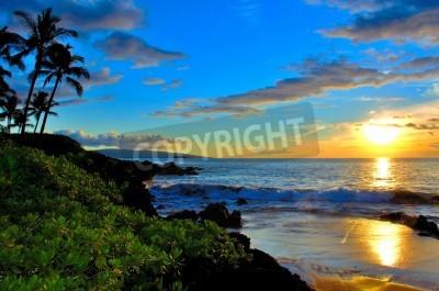 Carta da parati Maui Beach Tramonto con palme e fogliame