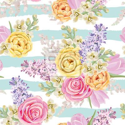 Mazzi Di Fiori Di Primavera Su Sfondo A Strisce Vector Seamless