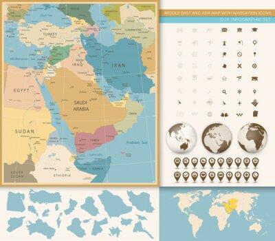 Carta da parati Medio Oriente e Asia occidentale Vintage mappa colori