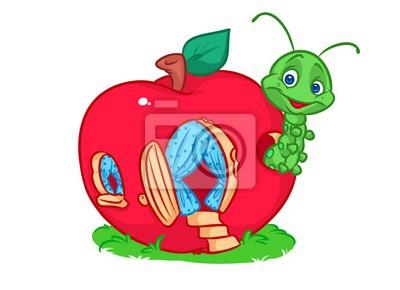 Mela rossa casa piccolo verme cartone animato illustrazione