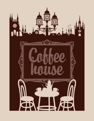 Carta da parati menu per la casa di caffè con la cornice e il centro storico