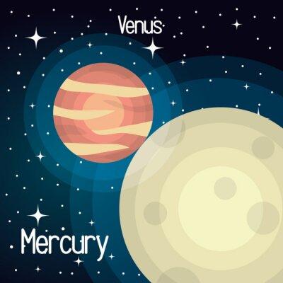 Carta da parati mercurio sistema di astronomia pianeti solari isolato illustrazione vettoriale eps 10