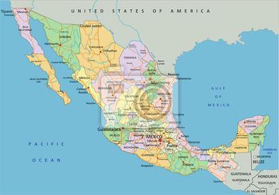 Cartina Politica Messico.Messico La Mappa Politica Modificabile Altamente Dettagliato Carta Da Parati Carte Da Parati Mappatura Amministrativo Divisione Myloview It