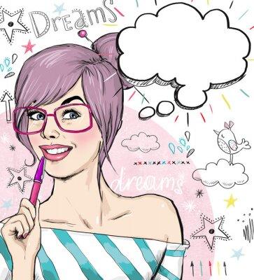 Carta da parati Moda ragazza con la penna in mano con il fumetto