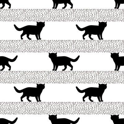 Carta da parati Modelli senza cuciture con sagome del gatto nero.