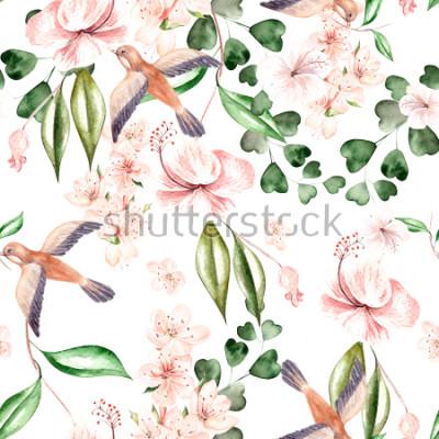 Carta da parati Modello acquerello con fiori primaverili, foglie di eucalipto e uccelli. Illustrazione