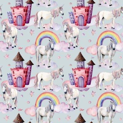 Carta da parati Modello acquerello con unicorni e arredamento da favola. Dipinto a mano cavalli magici, castello, arcobaleno, nuvole, stelle isolato su sfondo bianco. Carta da parati carina per design, stampa o sfond