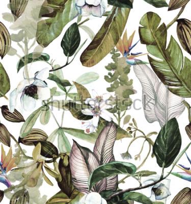 Carta da parati Modello acquirello senza soluzione di continuità con fiori tropicali, magnolia, fiori d'arancio, orchidea vaniglia, foglie tropicali, foglie di banana