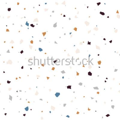 Carta da parati Modello astratto moderno di superficie strutturata pavimentazione del terrazzo. Ripetizione senza cuciture di contrasto con i chip di marmo o di granito nei colori pastelli morbidi.