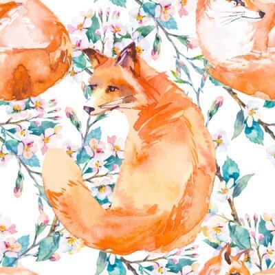 Carta da parati modello della fauna selvatica. Fox e rami fioriti. Vettore.