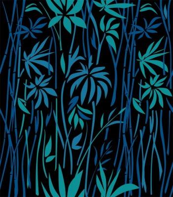 Carta da parati Modello di boschetti di bambù di foglie di smeraldo e rami blu su sfondo nero