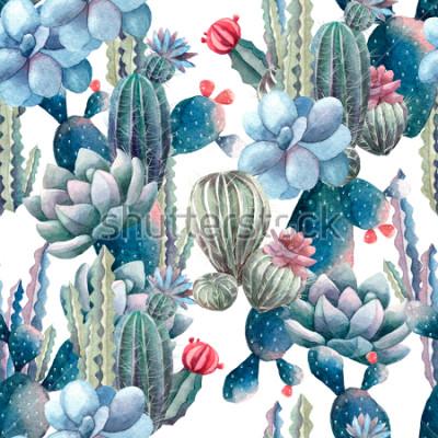 Carta da parati modello di cactus dell'acquerello