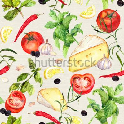Carta da parati Modello di cucina con formaggio, pomodori, aglio, speci ed eredità aromatica. Ripetendo la cottura di sfondo. Acquerello