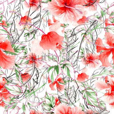 Carta da parati Modello di fiore rosa Wildflower in stile acquerello. Nome completo della pianta: rosa, rosa, hulthemia. Fiore selvaggio Aquarelle per sfondo, trama, modello di involucro, cornice o bordo.