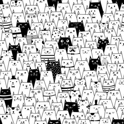 Carta da parati Modello di gatti vettore senza soluzione di continuità