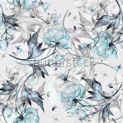 Carta da parati Modello di peonia senza soluzione di continuità con boccioli, motivo per tessuto e carta da parati, per il design e la decorazione.