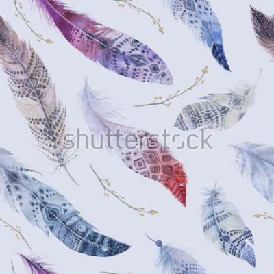 Carta da parati Modello di piume. Acquerello sfondo elegante. Stampa di design organico a colori ad acquerello. Struttura di ripetizione senza cuciture di colore con la carta da parati elegante disegnata a ma