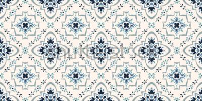 Carta da parati Modello di Talavera Azulejos portogallo. Ornamento turco Mosaico di piastrelle marocchine. Porcellana spagola Stoviglie in ceramica, stampa popolare. Ceramica spagnola Origine etnica. Carta da parati