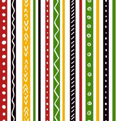 Carta da parati modello etnico senza soluzione di continuità con il verde, giallo, strisce di colore rosso. strisce dritte Ripetere texture di fondo, vettore.