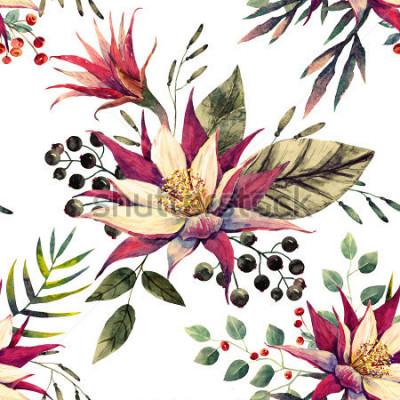 Carta da parati modello floreale, fiore di cactus, bacche bianche e nere, foglie di palma, colori retrò